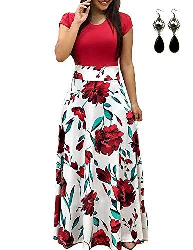 UUAISSO Sommerkleid Damen Lang mit Blüte Drucken Lang High Waist Elastische Strandkleider Maxikleider B-rot 3XL Damen Sommer Kleid