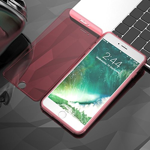 GrandEver iPhone 7 Weiche Silikon Hülle Durchsichtige Flip Rückschale TPU Bumper Transparent Schutzhülle Klar Handytasche Anti-Kratzer Stoßdämpfung Ultra Slim Rückseite Silicon Backcover Soft Case Pro Rot