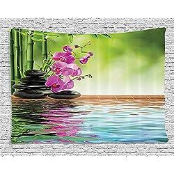 949acc5d814136 Tapestry, Arazzo Decorativo, Spa Set, Orchid Flower Stone Oriental Culture  Spiritualità Wellness TropicalDecorazione