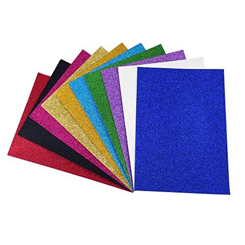 ewtshop 10 Blatt Glitzer Papier glänzend, 10, Glitter Tonpapier Glitzer Papier Glitterkarton Patchwork für Scrapbooking und mehr (Stock, Papier Rosa Card)