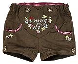 BONDI Kunstleder Short ´I mog di!´, braun 110 Tracht Baby Mädchen Artikel-Nr.85814