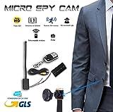 Mikro-Kamera Full-HD-Kamera, Mini-Spion-Kamera mit Kabel 18cm, Sensor: Bewegungsmelder, versteckt, an Knopfleiste