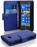 Cadorabo Nokia Lumia 820 Custodia di Libro di Finta-Pelle Struttura in Blu Marina - con Vani di Carte e Chiusura Magnetica - Portafoglio Cover Case Wallet Book Etui Protezione