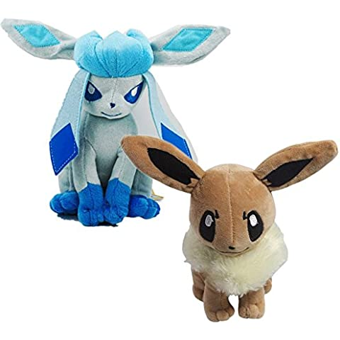 2 Pcs Pokemon Eevee Glaceon juguete de felpa suave de 8.5