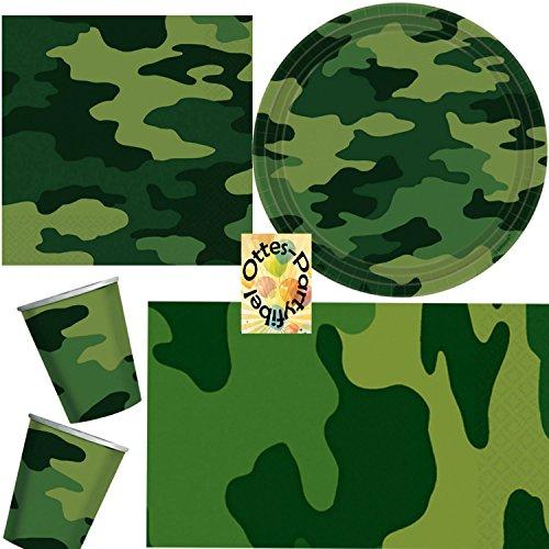 HHO Camouflage Partyset 49 TLG. Servietten Becher Teller Tischdecke für 16 Kinder (Camouflage Dekorationen Party)