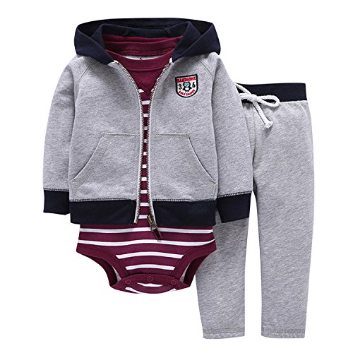 Newborn Baby Boys Coat Jacket + Romper + Long Pants 3pcs Clothing Set Outfit Grey B 0-9 Months