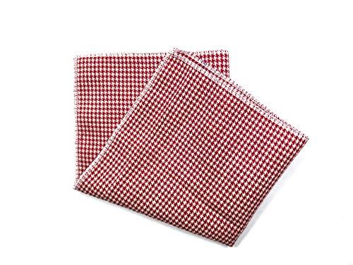 Handgenähtes Einstecktuch in rot weiß kariert - Rot Karierte Einstecktuch