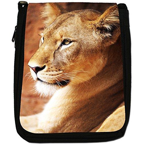 African Lion Big Cat Medium Nero Borsa In Tela, taglia M Close Up Of A Lioness