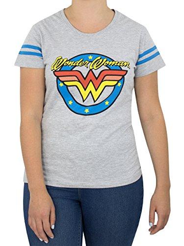 Wonder Woman Damen Logo T-Shirt, Grau, L - Frauen Wonder Für Woman T-shirts