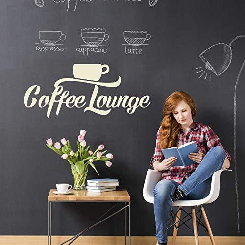 Wandaro W3436 Wandtattoo Wandsticker Wandaufkleber Coffee Lounge Kaffee Kaffe Kaffeetasse Tasse Wohnzimmer Küche Esszimmer weiß (BxH) 46 x 20 cm (Kaffee-tassen-küche)