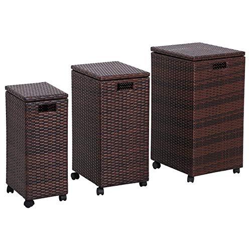 Outsunny Aufbewahrungsbox 3er-Set Aufbewahrungskiste Auflagenbox Ordnungsbox mit Deckel rollbar Polyrattan Braun L/M/S 44 x 37 x 75 cm