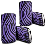 ONX3 - TWIN PACK - Huawei Ascend W2 Zebra PU Leather Pull Tab Protective Pouch Cover Skin Case (Purple and Black)