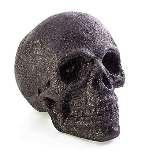 Halloween Totenkopf GARRY, schwarz, LEDs, 21 x 15 cm - Deko Toten Schädel - showking