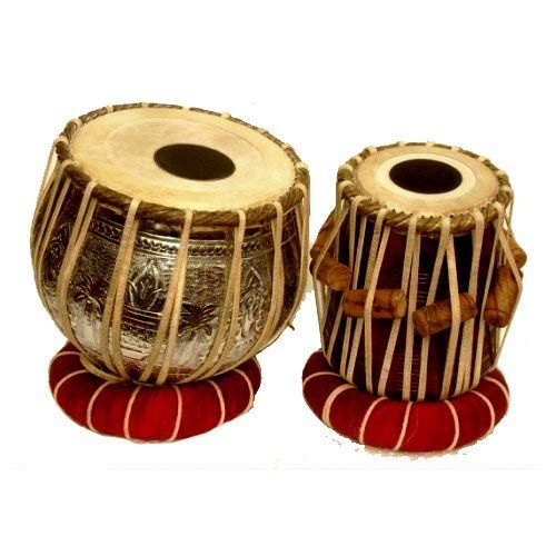 Tabla-Set aus verchromtem Messing, 3,5 kg, Bayan, feinster Sheesham Dayan, Tasche, Hamme