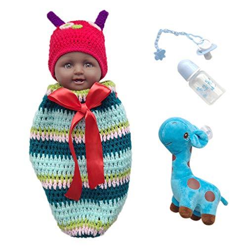 hen Boy Puppe African American Spielen Puppe,50cm,Schwarze Haare,Acryl Augen,Bunt Kleidung,Geschenk Für Kinder (Blau) ()