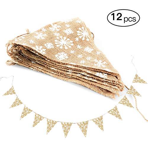 Wimpelgirlande Hochzeit FEIGO Leinen Wimpelkette Banner Flaggen mit Schneeflocken Wimpeln Dekoration für Weihnachten Hochzeit Geburtstag Fest Photo Requisit (Die Dekoration Mit Schneeflocken)