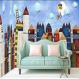 Ponana Papier Peint 3D Belle Maison De Château De Bande Dessinée Peinte À La Main Toile De Fond De Décoration De Chambre D'Enfants Custom Mural Wallpaper-150X120Cm
