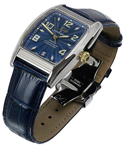 Orologio automatico di lusso Xezo for Unite4:good Incognito con forma tonneau ampia, cristallo zaffiro svizzero, movimento Citizen, 10 ATM. Stile Art Deco.