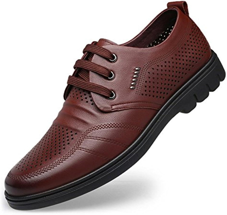 Herrenschuhe Leder Frühling Herbst Bootie Mode Stiefel Stiefel Metallic Toe Laceup für Casual Party  Abend