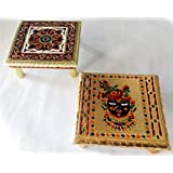 Wooden Chowki Stool/Decorative Small Side Table/Bajot Table For Pooja Room COMBO