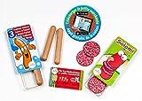 Polly Kaufladen Zubehör Set Salami, Würste Set + Kreditkarte Miniaturen | Kinder Spielzeug für den Kaufmannsladen | Kinderkaufladen