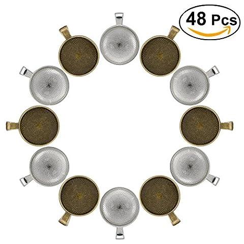 ULTNICE 48pcs Anhänger Set Cabochons für Schmuck machen Perlen 25mm runde Lünette Anhänger Tabletts Bronze + Silber