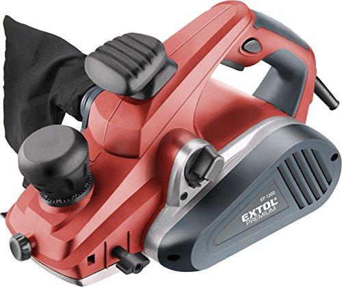 Extol Premium 8893403 Handhobel 88934003, 1300 W, Hobelbreite 110 mm, 0-3,5 mm Spandicke, Parallelanschlag, Staubbeutel, 230 V, rot