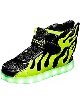 Aidonger Kinder LED Leuchtend Schuhe Unisex 7 Farbe Farbwechsel Sneaker USB Aufladen High-Top Schuhe