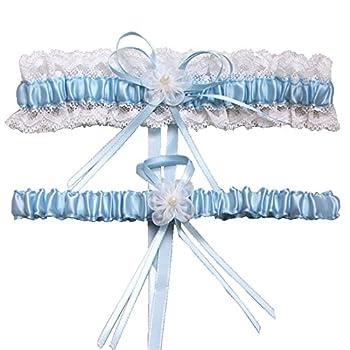 ZOEON Jarretière de Mariage, Élastique Bleu Jarretiere Motif Arc et Dentelle, Convient pour Les Mariages, Danses, fêtes