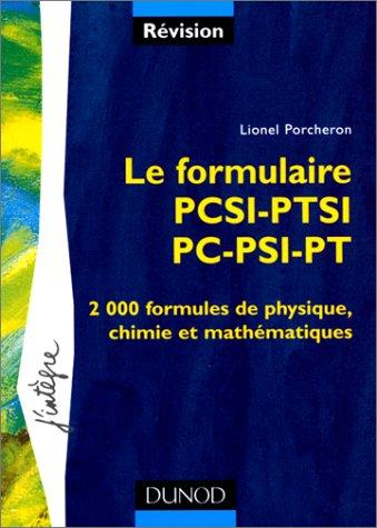 Le formulaire : 1re année PCSI-PTSI, 2e année PC-PSI-PT