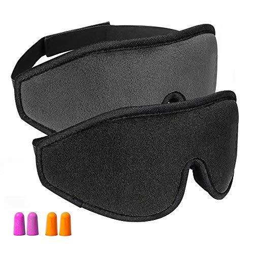 Augenmaske zum Schlafen, OIOSEN 2er Pack 3D konturierte Schlafmaske & Augenbinde, blockiert Licht zu 100%, super weich, komfortabel & verstellbar für Reisen, Schichtarbeit, Nickerchen
