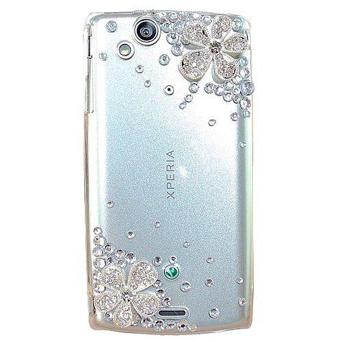 Semoss Schutzhülle für Sony Ericsson Xperia Arc S / LT18i Lt15i Hülle Schutz Case Etui Cover hardcase Rückschale transparent Künstliche Diamanten Diamond mit Blume