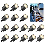 16Pcs Decking Lights, SOMOKY LED Plinth Deck lights with Protecting Shell φ32mm,Warm White Deck Lighting IP67 Waterproof, 12V Low Voltage for Garden Steps,Stair,Patio,Floor,Kitchen Skirting Decoration