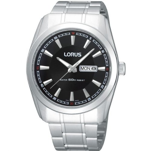 Lorus gents watch stainless steel 50m water resistance, black dial RH327AX9