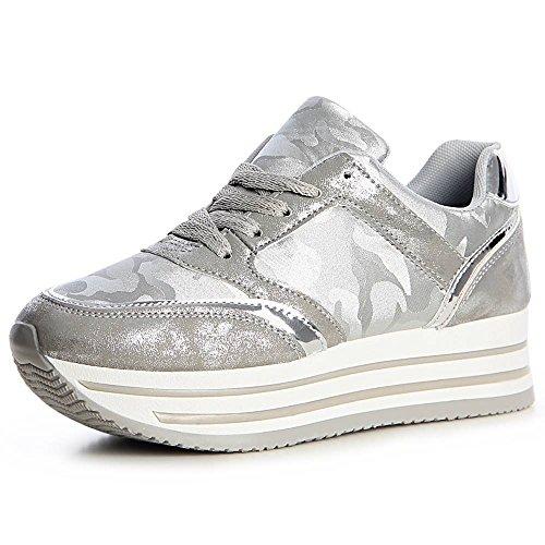 topschuhe24 1336 Damen Plateau Turnschuhe Sneaker Derby Camouflage, Größe:39, Farbe:Silber