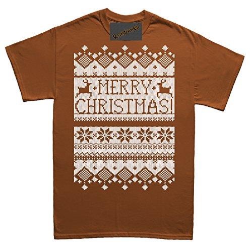 Renowned Merry Christmas Cool Vibrant white Herren T Shirt Braun