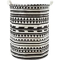 Scrox Faltbare Wäschekorb Leinen Runde Form Aufbewahrungstasche Storage Buskets mit 2 Händen auf beiden Seiten für Home Organizer