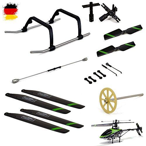 Crash-Kit Ersatzteile-Set für RC Hubschrauber FX078, Rotorblätter, Stabilisator, Zahnrad, Kufe und vieles mehr, Neu