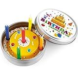 DONKEY Products Kerze in Dose Candle to Go Birthday, Geburtstagskuchen, inkl. 8 Mini-Kerzen, Ø 8 cm, 220206