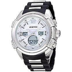 Bistec Herren Dual Time phosphoreszierende Zeiger Quarz weiß Zifferblatt Multifunktional Wasserdichte Sport-Armbanduhr