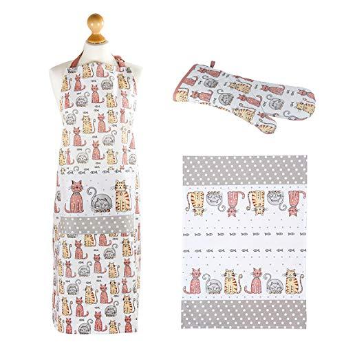 3 Stück Küchentextilien Set Küchen Geschenke Katzen Design Qualität Baumwolle Geschirrtücher Küchentücher, Topflappen Ofenhandschuh und Küchenschürze, Geschenk für Tierliebhaber Katzenliebhaber Koch