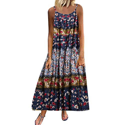 LUGOW Damen Bohemien Sommerkleider Blumen Maxi Kleid Ärmellos Abendkleid Strandkleid Party Lange Kleid Partykleid FreizeitTank Kleid Abendkleider Cocktailkleid(X-Large,Lila)