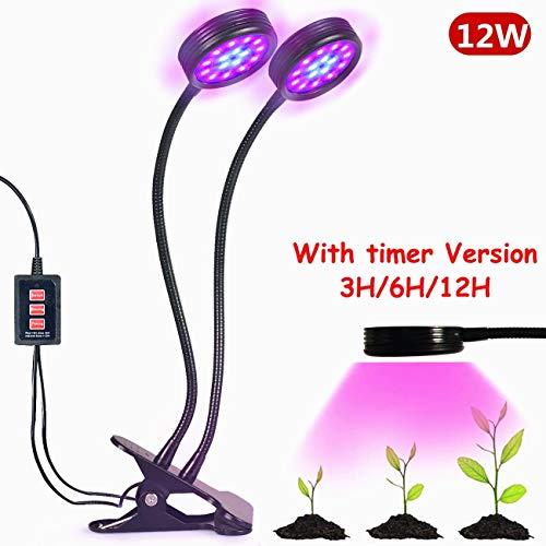 Doppelkopf LED Pflanzenlampe, Florally 18W Pflanzenleuchte USB Pflanzenlicht Wachstumslampe, 36 LEDs(24 Rote, 12 Blaue), 2 Lichtmodi verstellbar