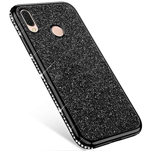 MoreChioce kompatibel mit Huawei Nova 3 Hülle,kompatibel mit Huawei Nova 3 Handyhülle Diamant, Schwarz Bling Glitzer Transparent Kratzfest TPU Flexible Weiche Silikon Schutzhülle Tasche (Bling Schwarz Fällen Anmerkung 3 Mit)