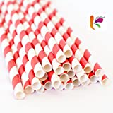 KRIWIN Pack Of 100 Red & White Stripes Paper Straws 7 3/4 Inch & 8 Mm Wide - Ideal For Drinking Cocktails, Mock-tails, Juices, Milkshakes And Craft Work