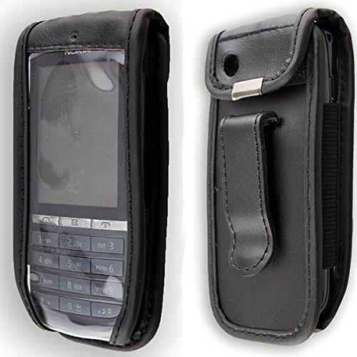 caseroxx Handy-Tasche Ledertasche mit Gürtelclip für Nokia Asha 300 aus Echtleder, Handyhülle für Gürtel (mit Sichtfenster aus schmutzabweisender Klarsichtfolie in schwarz)