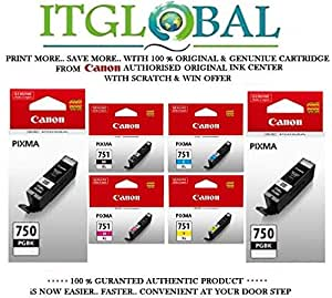 CANON PGI 750 Twin Black & CLI 751 XL BK/C/Y/M [Set of 6 Cartridge] -Special ITGLOBAL Combo With Scratch & Win Reward Offer - From ITGLOBAL