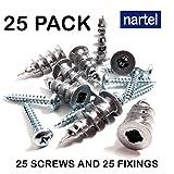 Nartel® Metal Self Drilling Plasterboard Fixings Raw Plugs Cavity Wall (25 Pack)