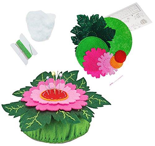 alles-meine.de GmbH Bastelset - Filz Nadelkissen -  Blume - Gerbera  - zum Sticken, einfaches Nähen per Hand - Nähzeug Zubehör - Komplettset filzen - Stecknadeln - Creativ - Fi..