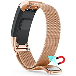 Garmin Vivosmart HR Banda, Malloom Milanese lazo magnético de acero inoxidable reloj banda correa para Garmin VIVOsmart HR (Oro rosa)
